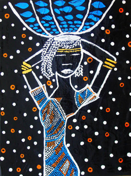 Painting - Nuer Lady - South Sudan by Gloria Ssali
