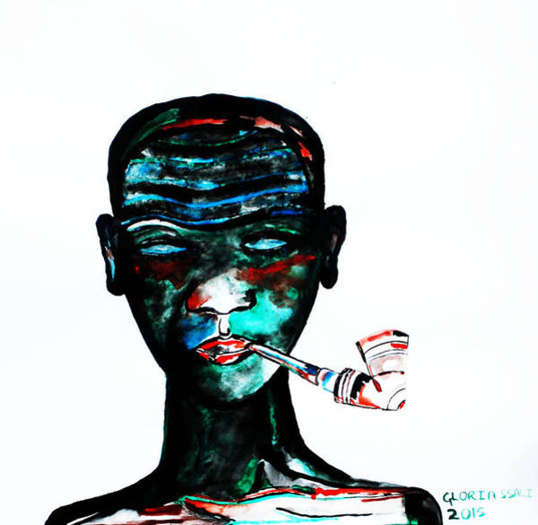 Painting - Nuer Lady With Pipe - South Sudan by Gloria Ssali
