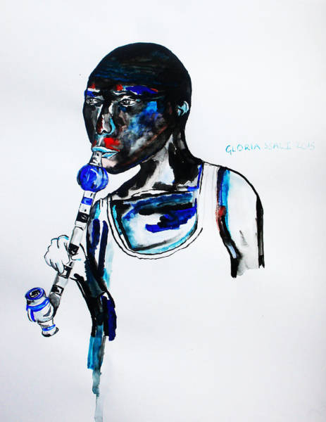 Painting - Nuer Man With A Pipe - South Sudan by Gloria Ssali