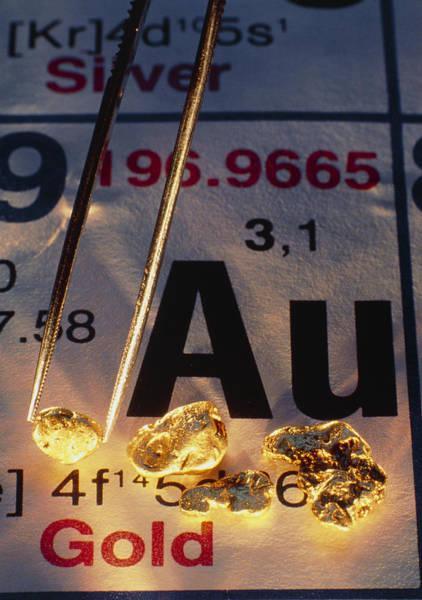 Periodic Table Photograph - Nuggets Of Gold On Periodic Table by David Nunuk