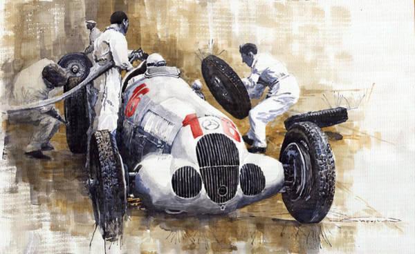 Mercedes Wall Art - Painting - Nurburgring Pit Stop 1937 Hermann Lang Mb W125 by Yuriy Shevchuk