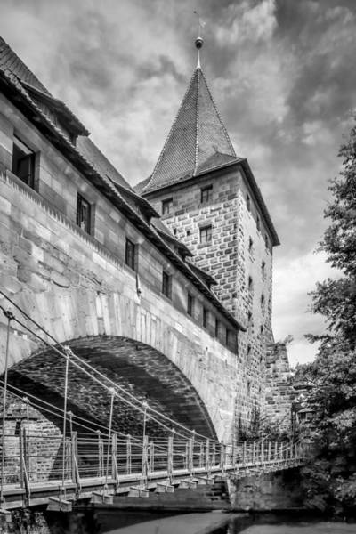 Wall Art - Photograph - Nuremberg Chained Suspension Bridge Monochrome by Melanie Viola