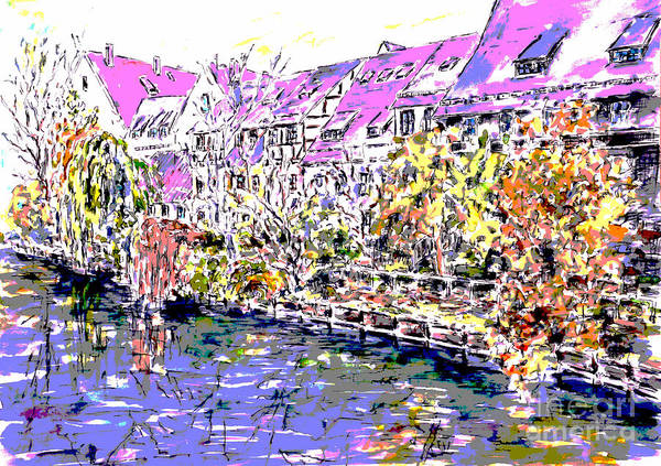 Wall Art - Painting - Nuremberg Northern Riverside Of Pegnitz Pop Art Series by Almo M