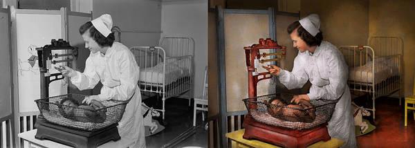 Wall Art - Photograph - Nurse - The Pediatrics Ward 1943 - Side By Side by Mike Savad