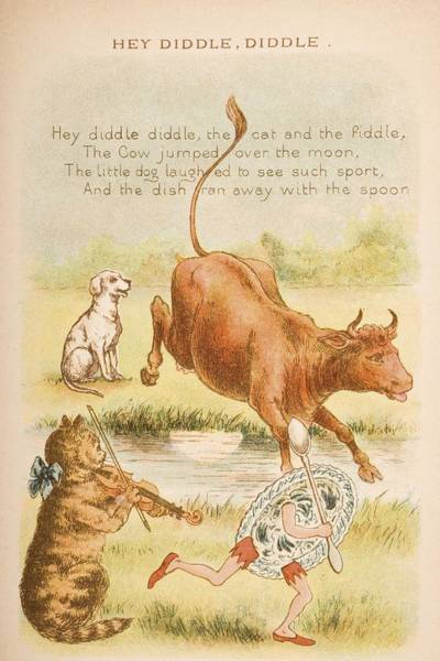 Mother Goose Drawing - Nursery Rhyme And Illustration Of Hey by Vintage Design Pics