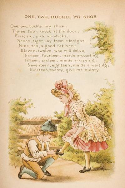 Mother Goose Drawing - Nursery Rhyme And Illustration Of One by Vintage Design Pics