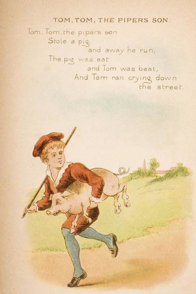 Mother Goose Drawing - Nursery Rhyme And Illustration Of Tom by Vintage Design Pics