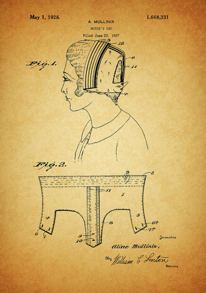 Drawing - Nursing Cap Patent by Dan Sproul