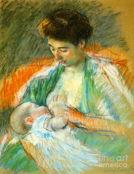 Wall Art - Photograph - Nursing Infant 1900 by Padre Art