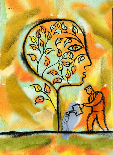 Garden Painting - Nurturing And Caring by Leon Zernitsky