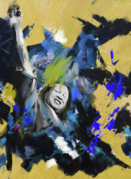 Music City Painting - Nusrat Fateh Ali Khan 188 II by Mawra Tahreem