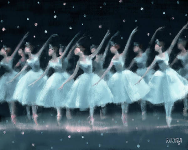 Brown Wall Art - Painting - Nutcracker Ballet Waltz Of The Snowflakes by Beverly Brown