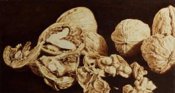 Pirografia Wall Art - Pyrography - Nuts by Juan Carlos Gonzalez