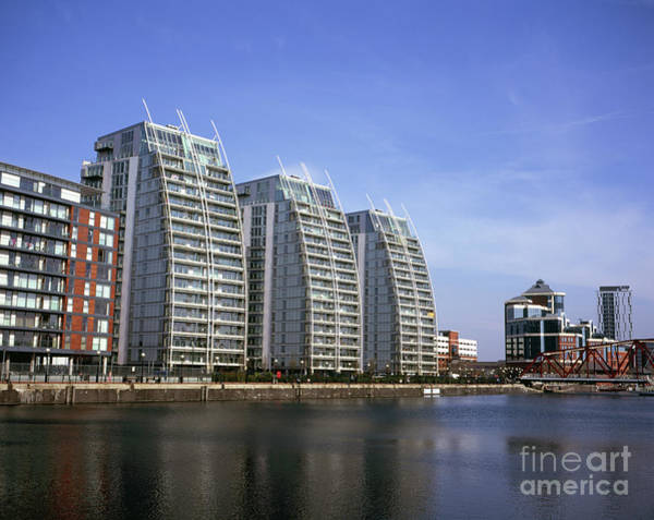 Greater Manchester Wall Art - Photograph - Nv Buildings Modern Apartment Blocks  Huron Basin Salford Quays Greater Manchester England by Michael Walters