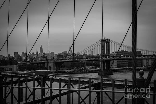 Ny Skyline From Brooklyn Bridge Art Print