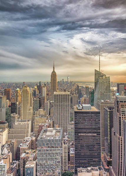 Photograph - Ny Skyline With Swirly Clouds #2 by Framing Places