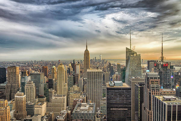 Photograph - Ny Skyline With Swirly Clouds by Framing Places