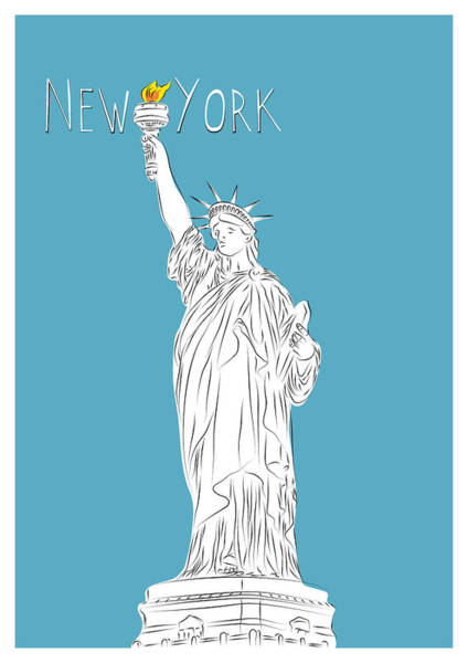 Famous Places Digital Art - Ny Statue Of Liberty Line Art by BONB Creative