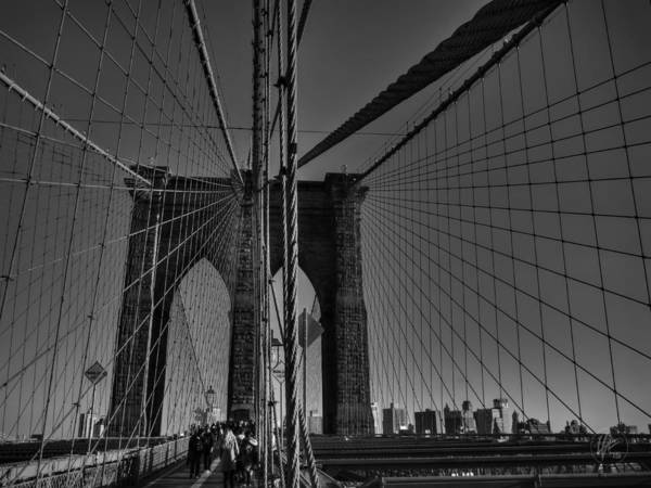Photograph - Nyc - Brooklyn Bridge 001 Bw by Lance Vaughn
