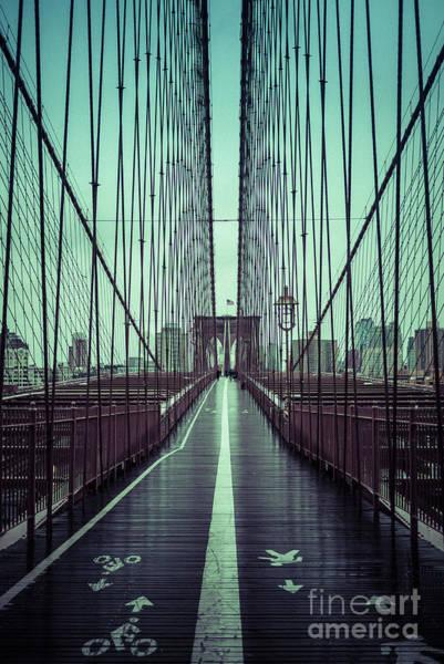Photograph - Nyc Brooklyn Bridge Bwr by Edward Fielding