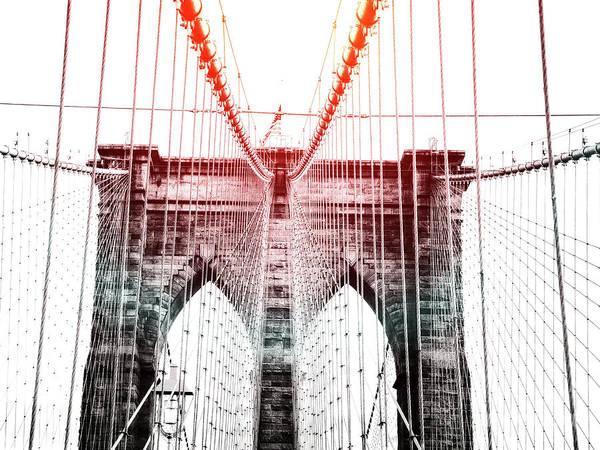 Photograph - Nyc Brooklyn Bridge Lens Flare by Edward Fielding