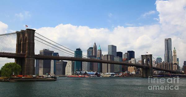 Wall Art - Photograph - Nyc Brooklyn Bridge Midday L by Wayne Moran
