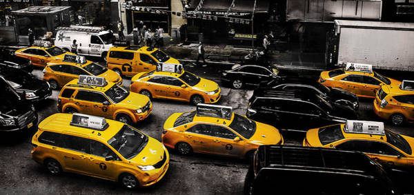 Time Square Photograph - Nyc Cabs by Martin Newman