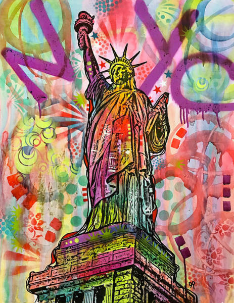 Nyc Skyline Painting - Nyc Liberty by Dean Russo Art