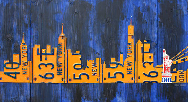 Statue Mixed Media - Nyc New York City Skyline With Lady Liberty And Freedom Tower Recycled License Plate Art by Design Turnpike