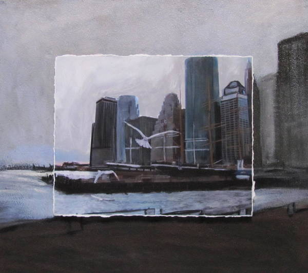 Mixed Media - Nyc Pier 11 Layered by Anita Burgermeister