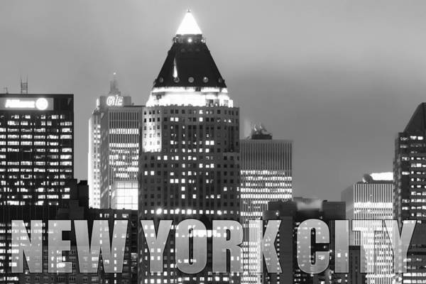 Photograph - Nyc Poster Bw by Rospotte Photography