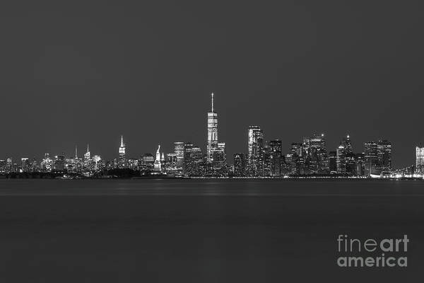 Wall Art - Photograph - Nyc Skyline At Blue Hour Bw by Michael Ver Sprill