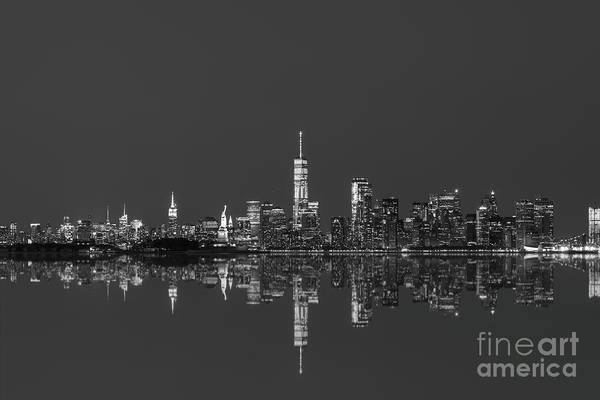 Tioga Photograph - Nyc Skyline Reflections Bw by Michael Ver Sprill