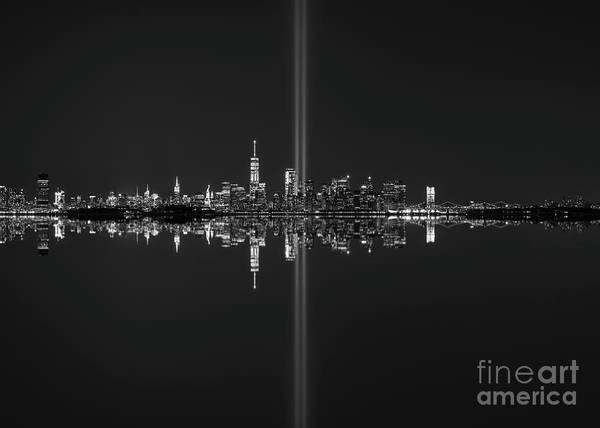 Wall Art - Photograph - Nyc Skyline Tribute In Light Bw by Michael Ver Sprill