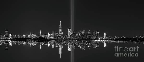 Wall Art - Photograph - Nyc Skyline Tribute In Light Pano Bw by Michael Ver Sprill