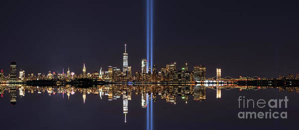 Wall Art - Photograph - Nyc Skyline Tribute In Light Panorama by Michael Ver Sprill
