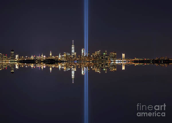 Wall Art - Photograph - Nyc Skyline Tribute In Light Reflections by Michael Ver Sprill