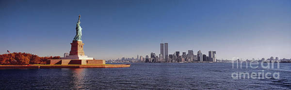 Photograph - New, York, City, Skyline, Twin, Towers, Statue Of Liberty  by Tom Jelen