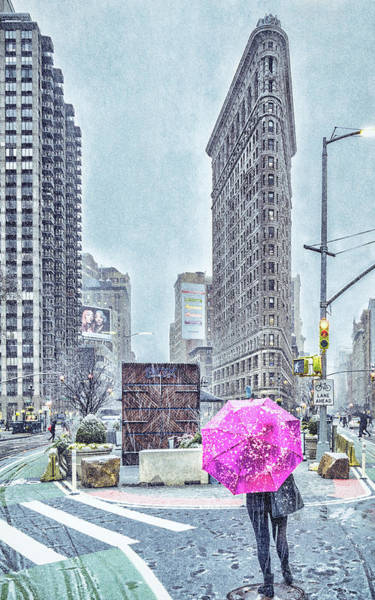 Nyc Snowy Scene Art Print