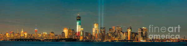 Photograph - Nyc Tribute In Light Skyline Panorama I by Clarence Holmes