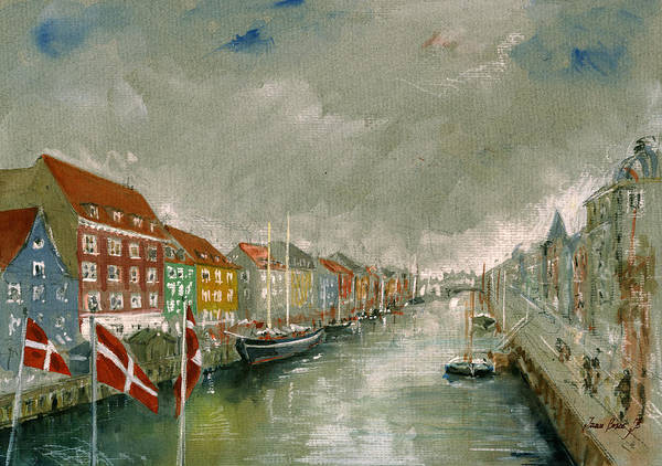 Church Painting - Nyhavn Copenhagen by Juan  Bosco