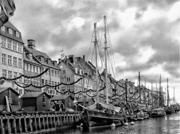 Kopenhagen Photograph - Nyhavn Harbour Black And White by Dorothy Berry-Lound