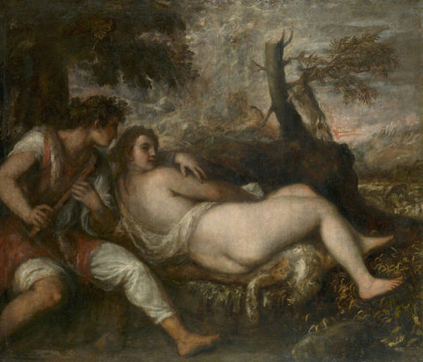 Painting - Nymph And Shepherd  by Titian