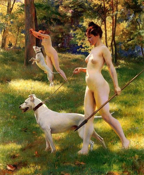 Leash Painting - Nymphs Hunting by Mountain Dreams