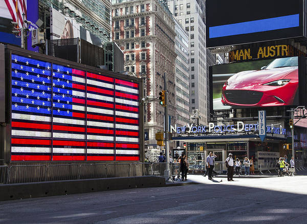 Photograph - Nypd And The American Flag by Bob Slitzan