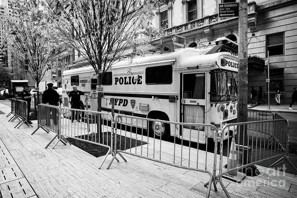 Wall Art - Photograph - Nypd Communications Command Post Bus Vehicle For Trump Tower Policing New York City Usa by Joe Fox