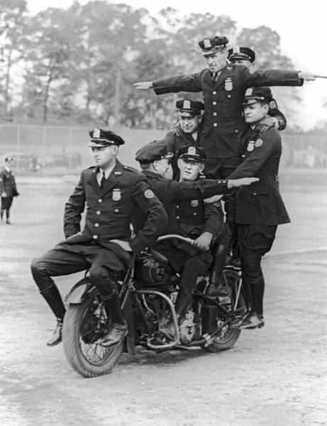 Cops Photograph - Nypd Motorcycle Stunts by Underwood Archives
