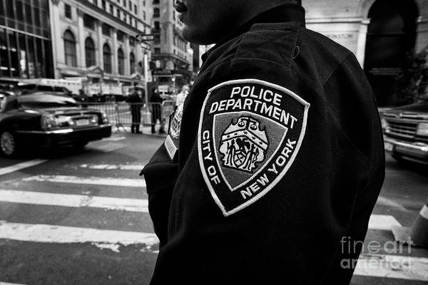 Wall Art - Photograph - nypd police officer shoulder crest badge New York City USA by Joe Fox
