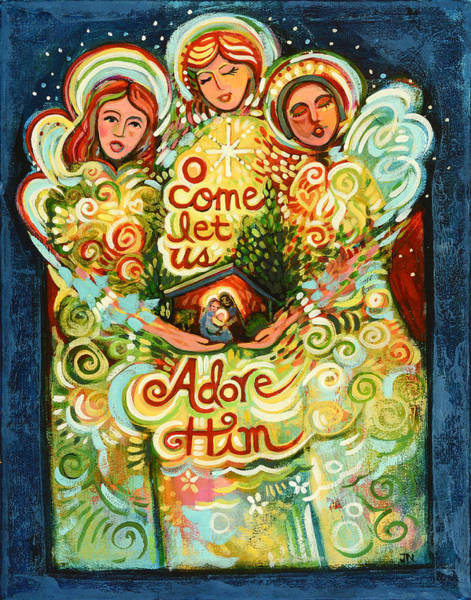 Birth Painting - O Come Let Us Adore Him With Angels by Jen Norton