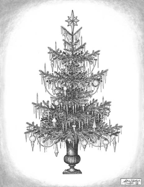 Evergreen Trees Drawing - O Tannenbaum by Adam Zebediah Joseph